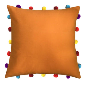 "Lushomes Sun Orange Cushion Cover with Colorful pom poms (Single pc, 16 x 16"") - Lushomes"