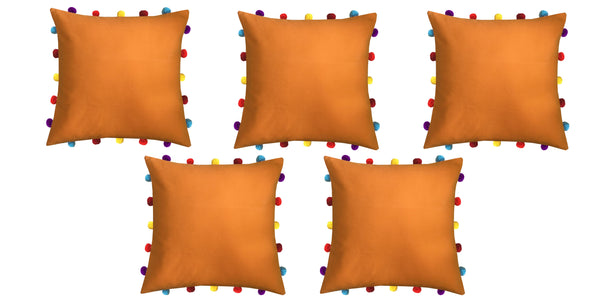 Lushomes Sun Orange Cushion Cover with Colorful pom poms (Single pc, 16 x 16‰۝)