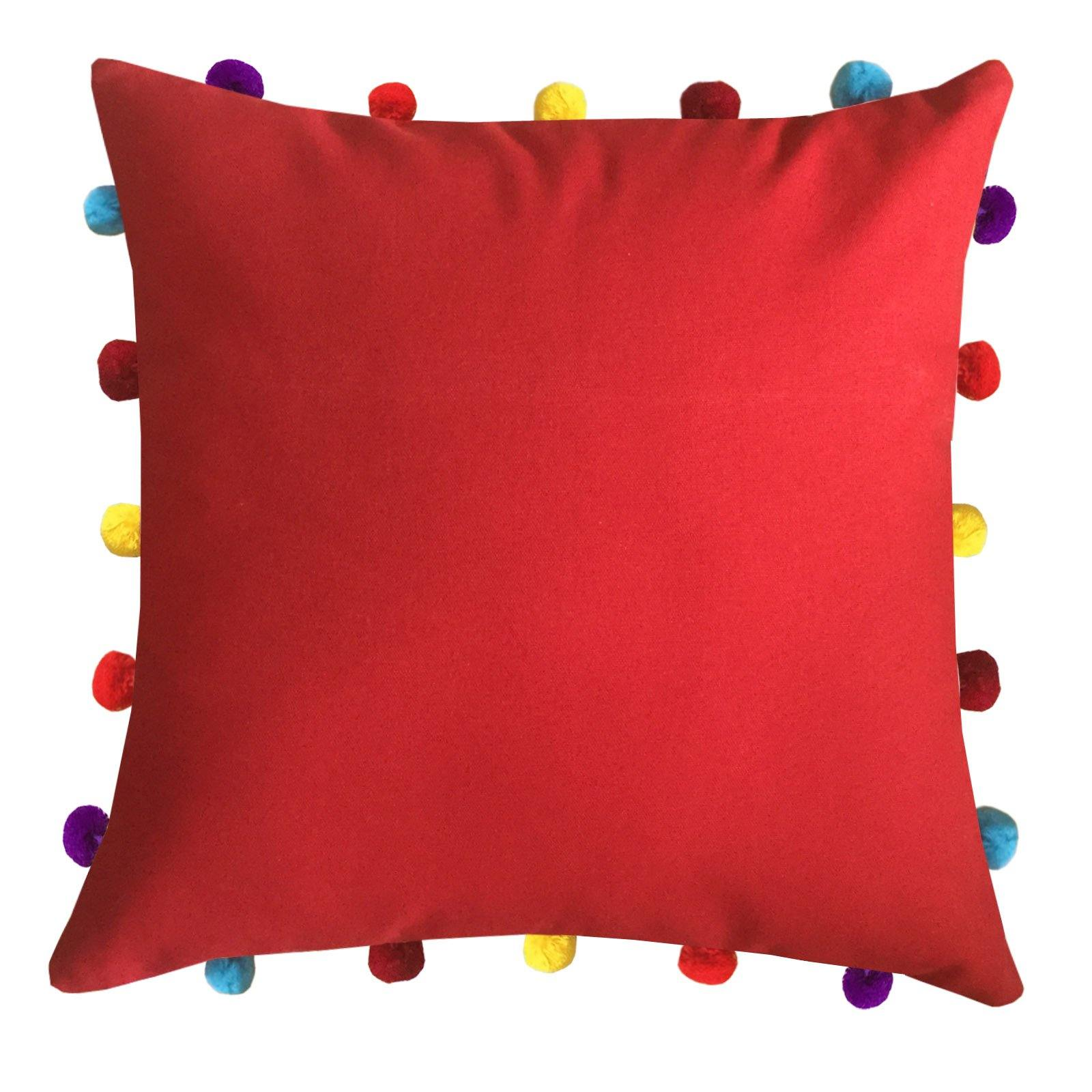 "Lushomes Tomato Cushion Cover with Colorful pom poms (Single pc, 16 x 16"") - Lushomes"