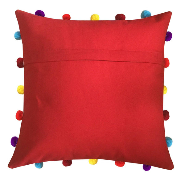 "Lushomes Tomato Cushion Cover with Colorful pom poms (3 pcs, 16 x 16"") - Lushomes"