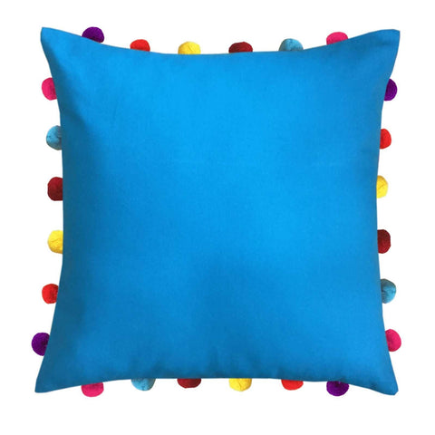 "Lushomes Bachelor Button Cushion Cover with Colorful Pom pom (Single pc, 18 x 18"") - Lushomes"