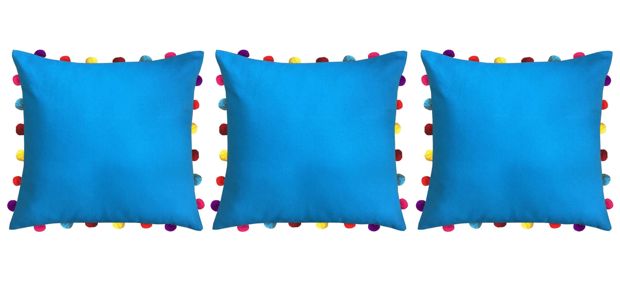 "Lushomes Bachelor Button Cushion Cover with Colorful Pom pom (3 pcs, 18 x 18"") - Lushomes"