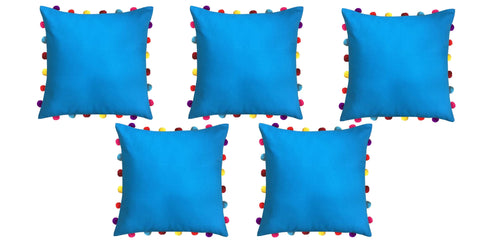 "Lushomes Bachelor Button Cushion Cover with Colorful Pom pom (5 pcs, 18 x 18"") - Lushomes"