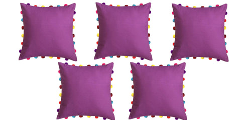 "Lushomes Bordeaux Cushion Cover with Colorful Pom pom (5 pcs, 18 x 18"") - Lushomes"