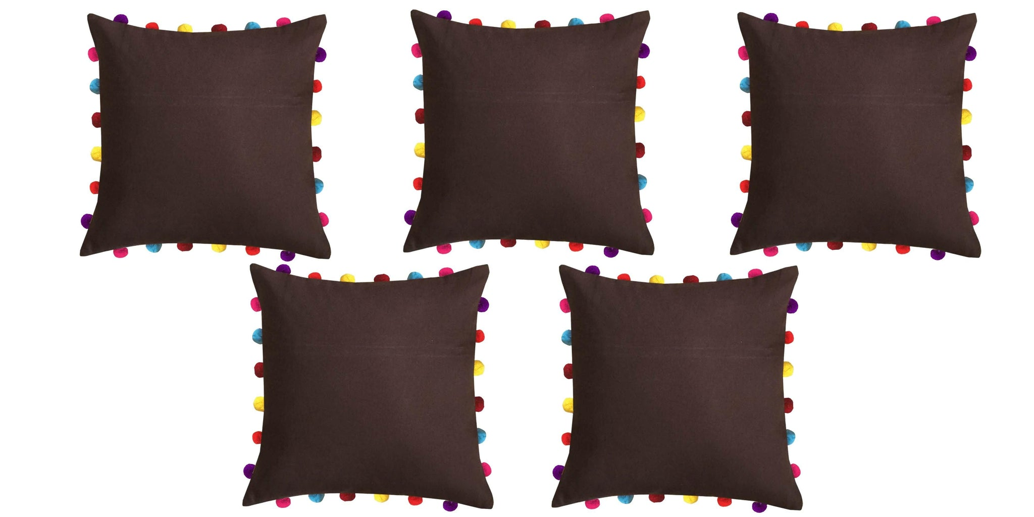 "Lushomes French Roast Cushion Cover with Colorful Pom pom (5 pcs, 18 x 18"") - Lushomes"