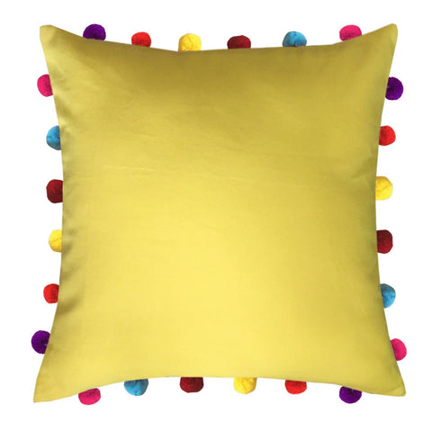 "Lushomes Lemon Chrome Cushion Cover with Colorful Pom pom (Single pc, 18 x 18"") - Lushomes"