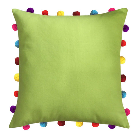 "Lushomes Palm Cushion Cover with Colorful Pom pom (Single pc, 18 x 18"") - Lushomes"