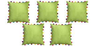 "Lushomes Palm Cushion Cover with Colorful Pom pom (5 pcs, 18 x 18"") - Lushomes"