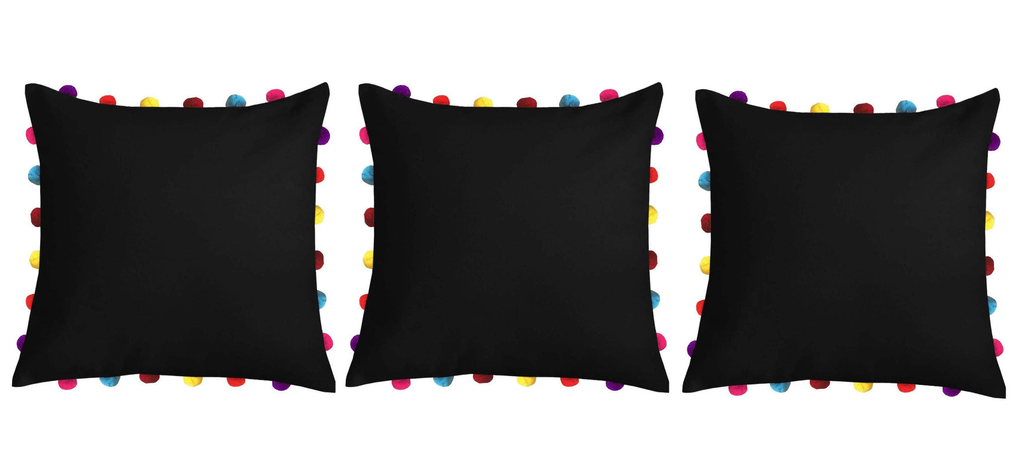 "Lushomes Pirate Black Cushion Cover with Colorful Pom pom (3 pcs, 18 x 18"") - Lushomes"