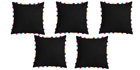 "Lushomes Pirate Black Cushion Cover with Colorful Pom pom (5 pcs, 18 x 18"") - Lushomes"