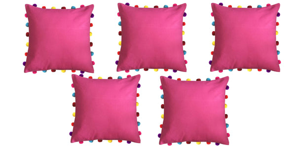 Lushomes Rasberry Cushion Cover with Colorful Pom pom (Single pc, 18 x 18‰۝)