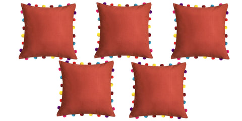 "Lushomes Red Wood Cushion Cover with Colorful Pom pom (5 pcs, 18 x 18"") - Lushomes"