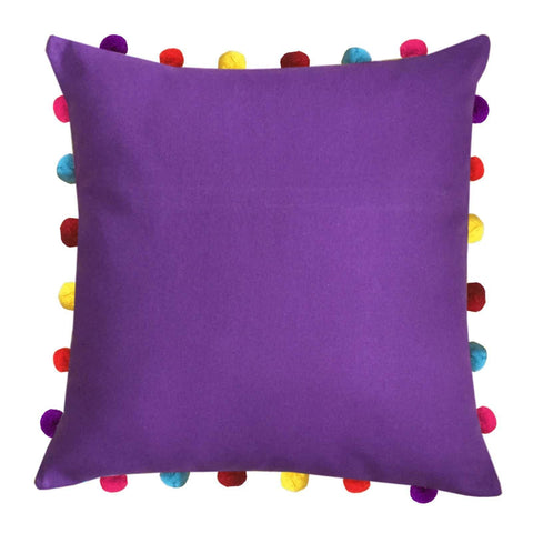 "Lushomes Royal Lilac Cushion Cover with Colorful Pom pom (Single pc, 18 x 18"") - Lushomes"