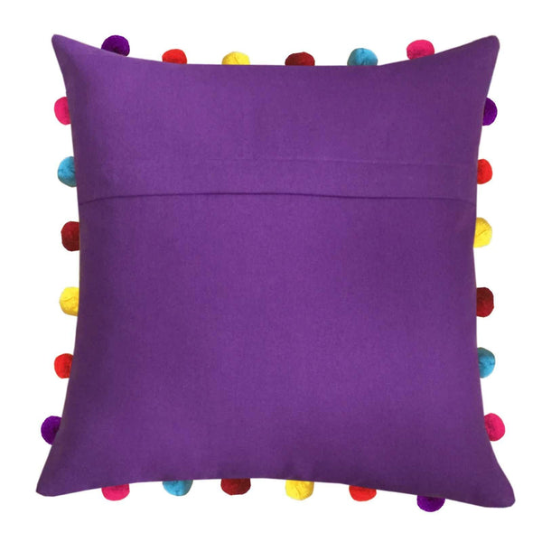 "Lushomes Royal Lilac Cushion Cover with Colorful Pom pom (3 pcs, 18 x 18"") - Lushomes"