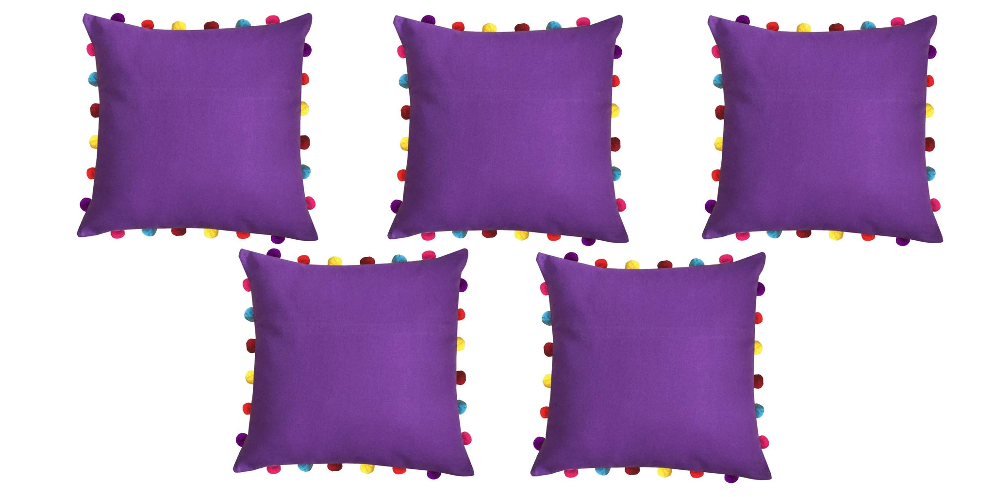 "Lushomes Royal Lilac Cushion Cover with Colorful Pom pom (5 pcs, 18 x 18"") - Lushomes"