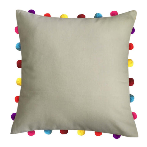 "Lushomes Sand Cushion Cover with Colorful Pom pom (Single pc, 18 x 18"") - Lushomes"