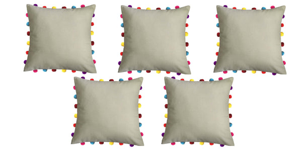 "Lushomes Sand Cushion Cover with Colorful Pom pom (5 pcs, 18 x 18"") - Lushomes"