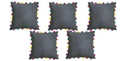 "Lushomes Sedona Sage Cushion Cover with Colorful Pom pom (5 pcs, 18 x 18"") - Lushomes"