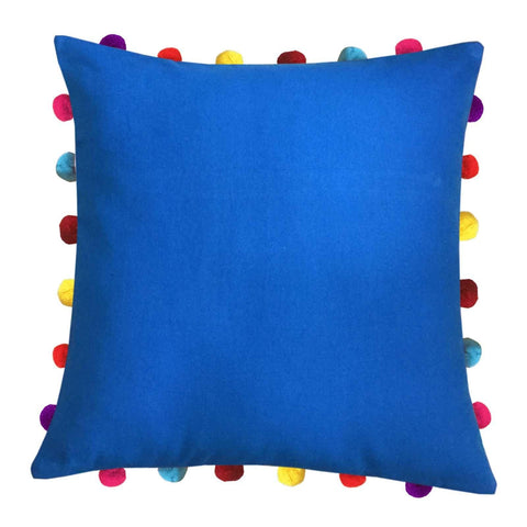 "Lushomes Sky Diver Cushion Cover with Colorful Pom pom (Single pc, 18 x 18"") - Lushomes"