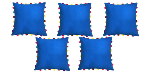 "Lushomes Sky Diver Cushion Cover with Colorful Pom pom (5 pcs, 18 x 18"") - Lushomes"