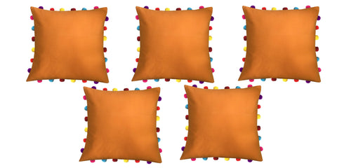 "Lushomes Sun Orange Cushion Cover with Colorful Pom pom (5 pcs, 18 x 18"") - Lushomes"