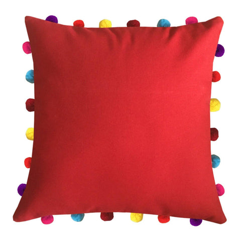 "Lushomes Tomato Cushion Cover with Colorful Pom pom (Single pc, 18 x 18"") - Lushomes"