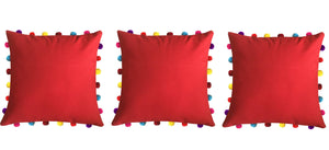 "Lushomes Tomato Cushion Cover with Colorful Pom pom (3 pcs, 18 x 18"") - Lushomes"