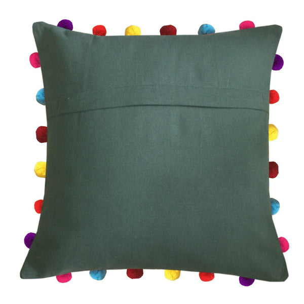 "Lushomes Vineyard Green Cushion Cover with Colorful Pom pom (Single pc, 18 x 18"") - Lushomes"