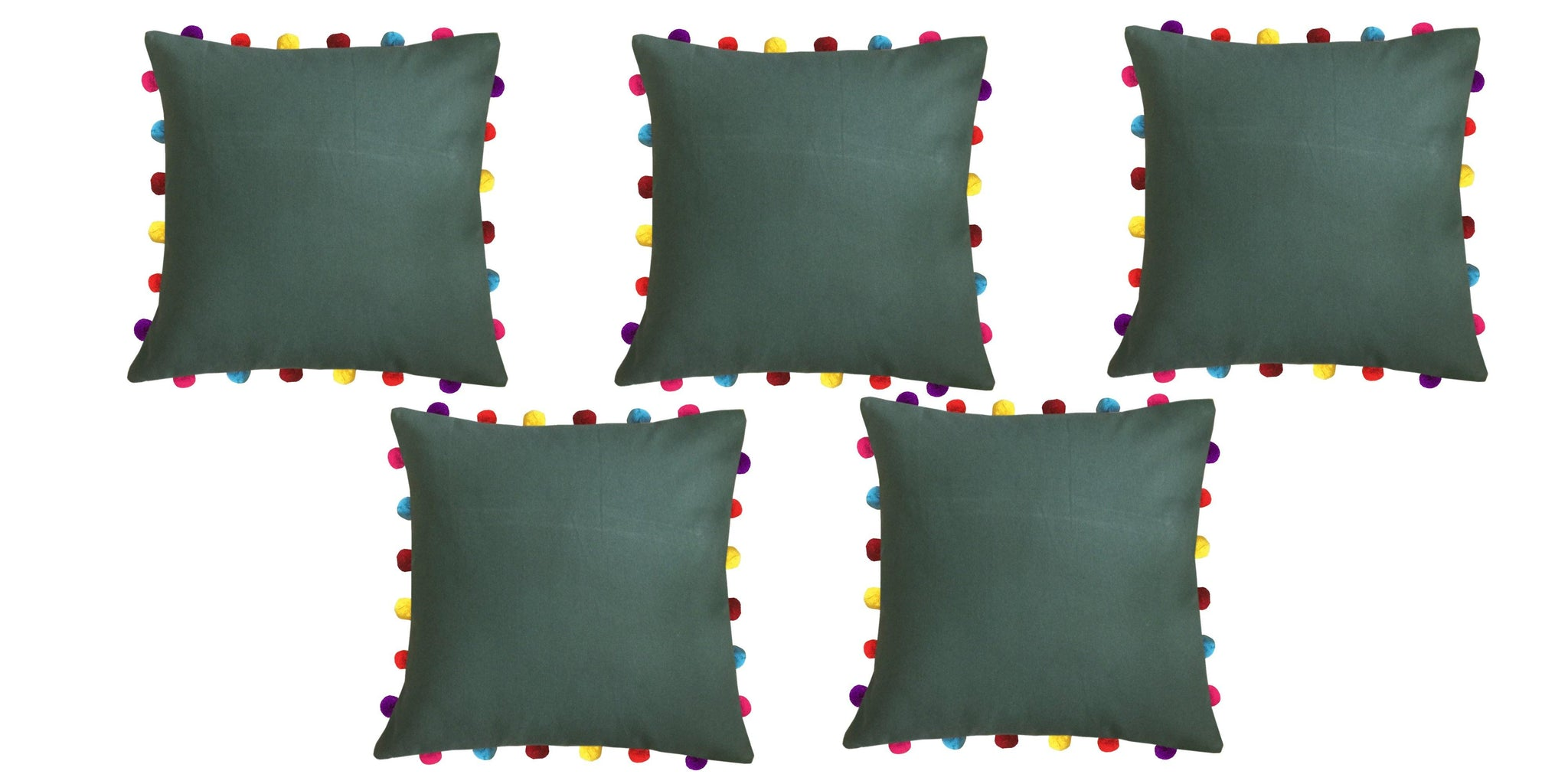 "Lushomes Vineyard Green Cushion Cover with Colorful Pom pom (5 pcs, 18 x 18"") - Lushomes"