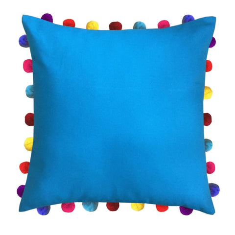 "Lushomes Bachelor Button Cushion Cover with Colorful Pom Poms (Single pc, 20 x 20"") - Lushomes"