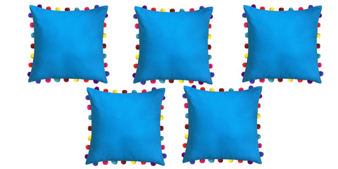 "Lushomes Bachelor Button Cushion Cover with Colorful Pom Poms (5 pcs, 20 x 20"") - Lushomes"