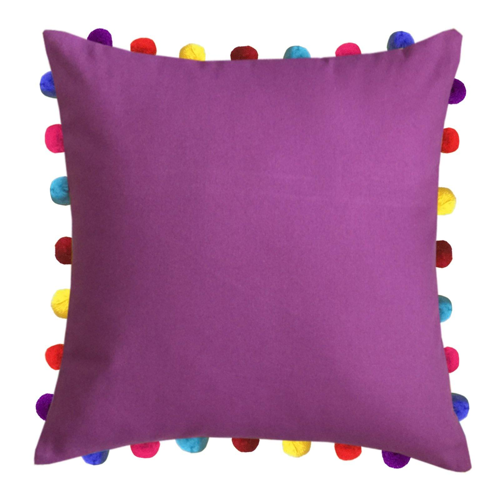 "Lushomes Bordeaux Cushion Cover with Colorful Pom Poms (Single pc, 20 x 20"") - Lushomes"