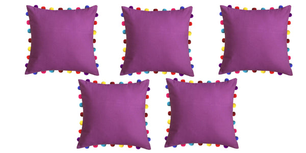 Lushomes Bordeaux Cushion Cover with Colorful Pom Poms (Single pc, 20 x 20‰۝)