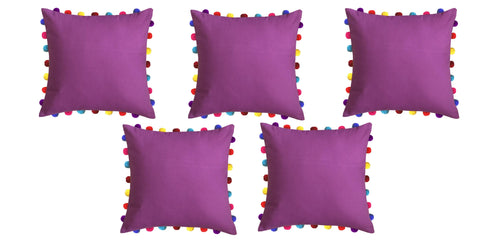 "Lushomes Bordeaux Cushion Cover with Colorful Pom Poms (5 pcs, 20 x 20"") - Lushomes"