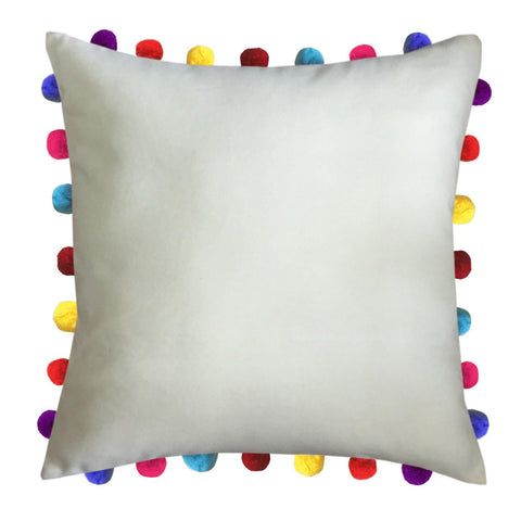 "Lushomes Ecru Cushion Cover with Colorful Pom Poms (Single pc, 20 x 20"") - Lushomes"