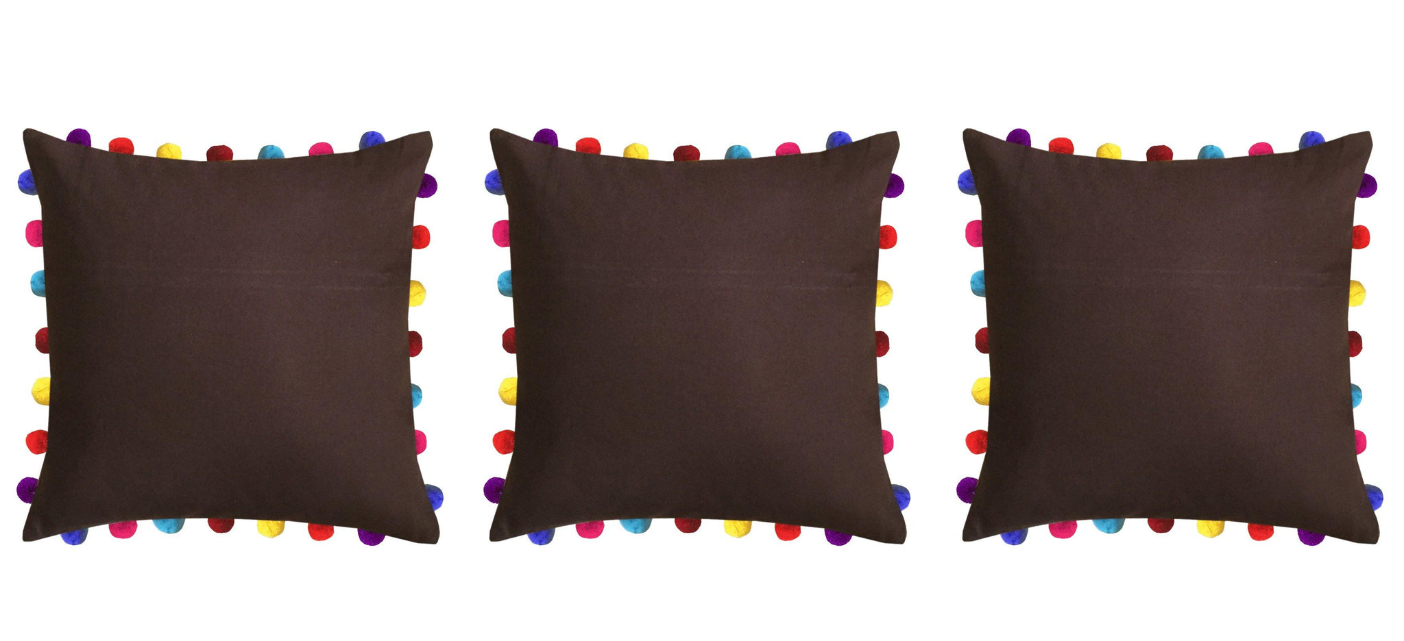 "Lushomes French Roast Cushion Cover with Colorful Pom Poms (3 pcs, 20 x 20"") - Lushomes"