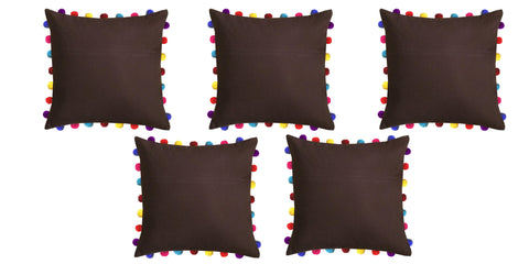 "Lushomes French Roast Cushion Cover with Colorful Pom Poms (5 pcs, 20 x 20"") - Lushomes"