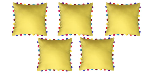 "Lushomes Lemon Chrome Cushion Cover with Colorful Pom Poms (5 pcs, 20 x 20"") - Lushomes"