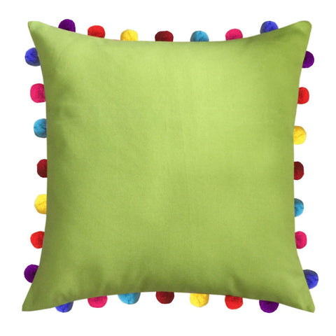 "Lushomes Palm Cushion Cover with Colorful Pom Poms (Single pc, 20 x 20"") - Lushomes"