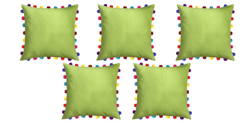 "Lushomes Palm Cushion Cover with Colorful Pom Poms (5 pcs, 20 x 20"") - Lushomes"