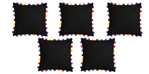 "Lushomes Pirate Black Cushion Cover with Colorful Pom Poms (5 pcs, 20 x 20"") - Lushomes"