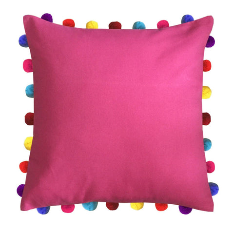 "Lushomes Rasberry Cushion Cover with Colorful Pom Poms (Single pc, 20 x 20"") - Lushomes"