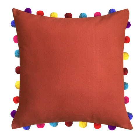 "Lushomes Red Wood Cushion Cover with Colorful Pom Poms (Single pc, 20 x 20"") - Lushomes"