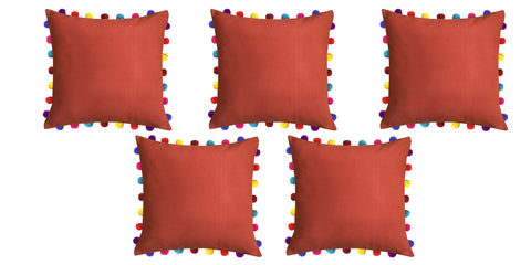 "Lushomes Red Wood Cushion Cover with Colorful Pom Poms (5 pcs, 20 x 20"") - Lushomes"