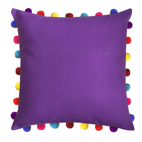"Lushomes Royal Lilac Cushion Cover with Colorful Pom Poms (Single pc, 20 x 20"") - Lushomes"