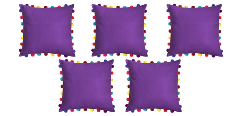 "Lushomes Royal Lilac Cushion Cover with Colorful Pom Poms (5 pcs, 20 x 20"") - Lushomes"