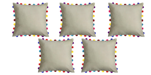 "Lushomes Sand Cushion Cover with Colorful Pom Poms (5 pcs, 20 x 20"") - Lushomes"