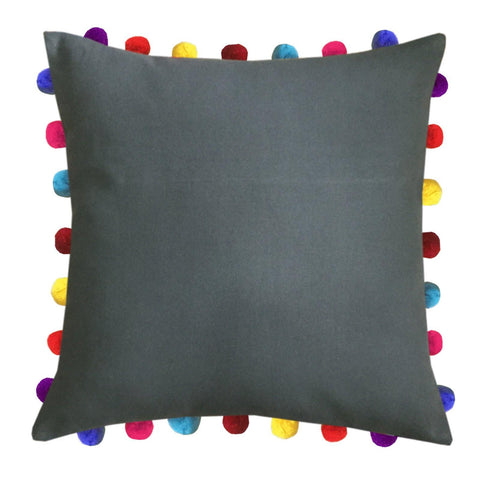 "Lushomes Sedona Sage Cushion Cover with Colorful Pom Poms (Single pc, 20 x 20"") - Lushomes"