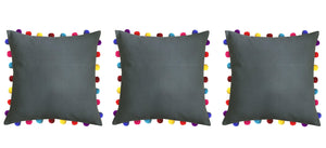 "Lushomes Sedona Sage Cushion Cover with Colorful Pom Poms (3 pcs, 20 x 20"") - Lushomes"