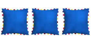 "Lushomes Sky Diver Cushion Cover with Colorful Pom Poms (3 pcs, 20 x 20"") - Lushomes"